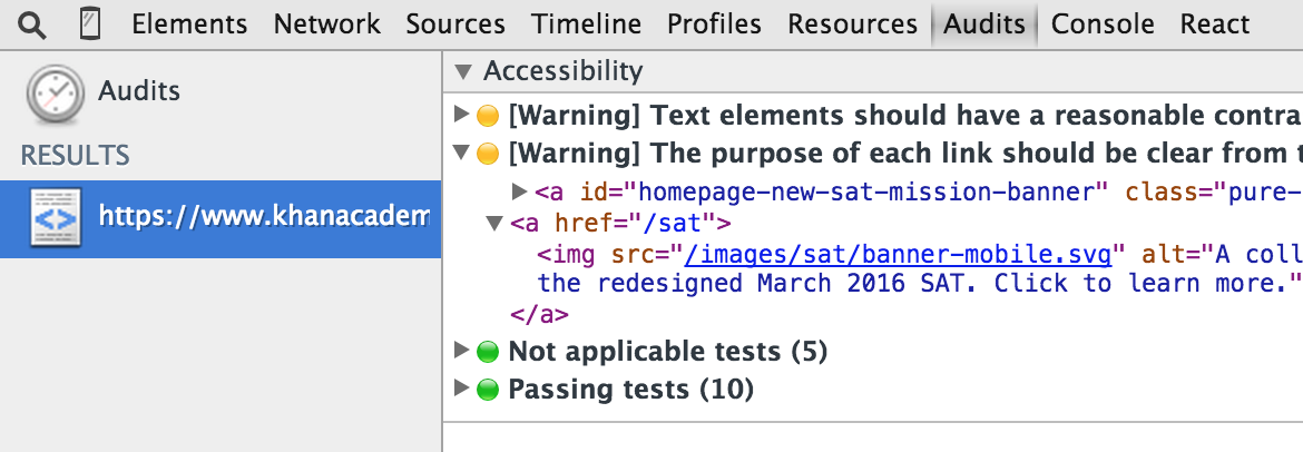 Chrome's Accessibility Developer Tools reporting some errors on our homepage