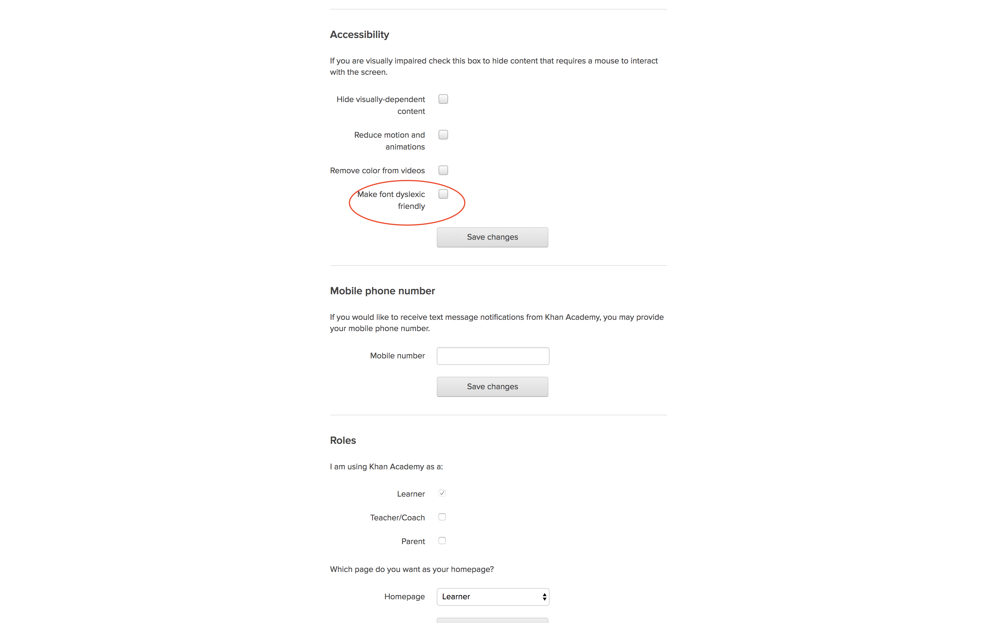 Accessibility Settings Section in User Settings Page