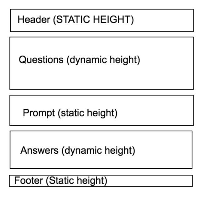 Example app layout with questions and answers having dynamic height