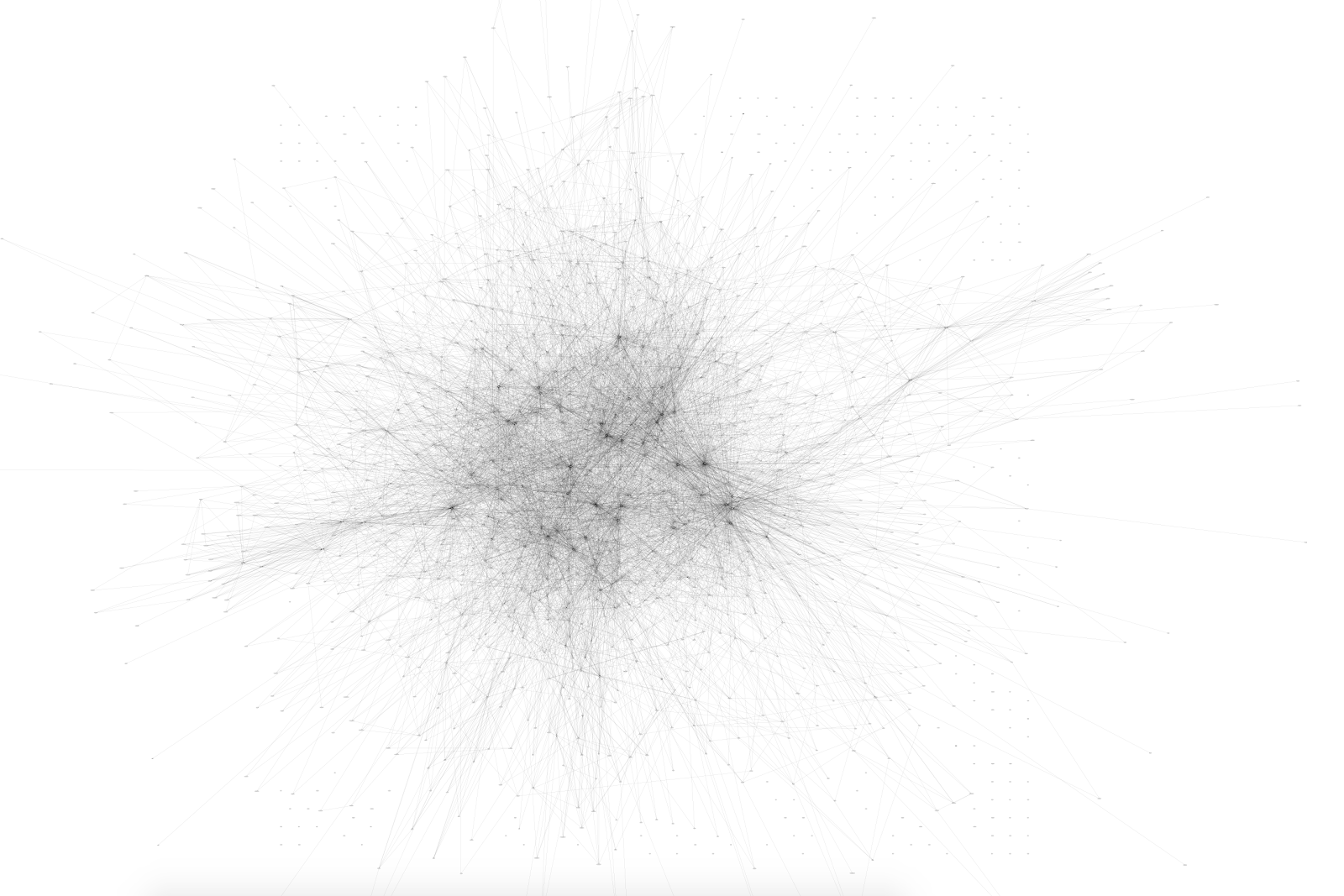 A picture of a huge dependency graph; there is still a tangle at the center but there are some other, more distinct groupings