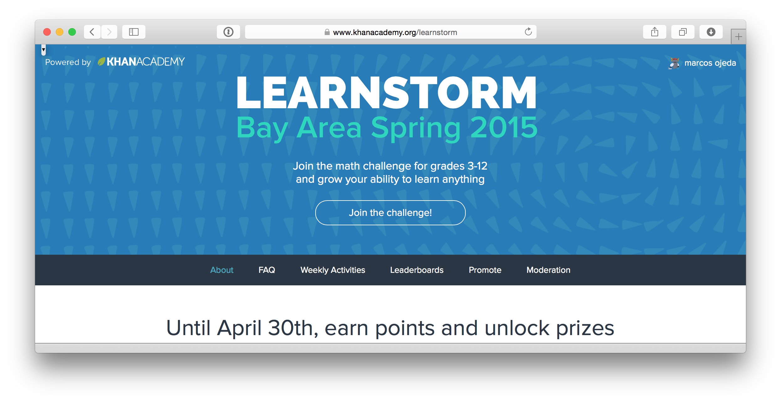 the learnstorm page